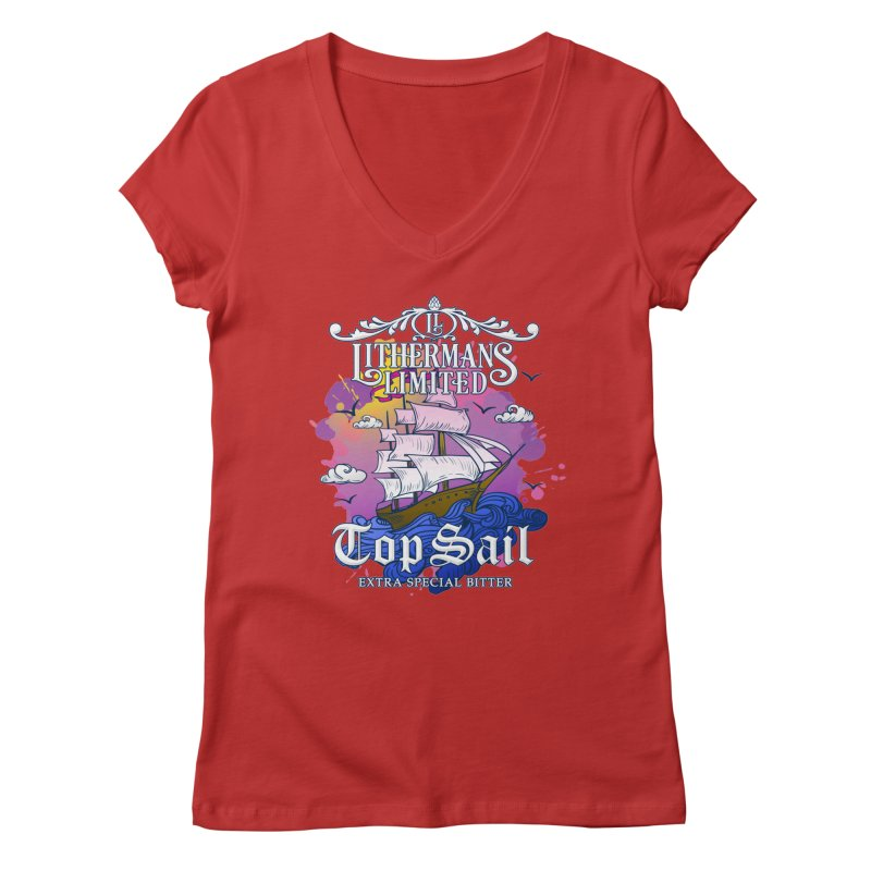 Top Sail Women's Regular V-Neck by Lithermans Limited Print Shop