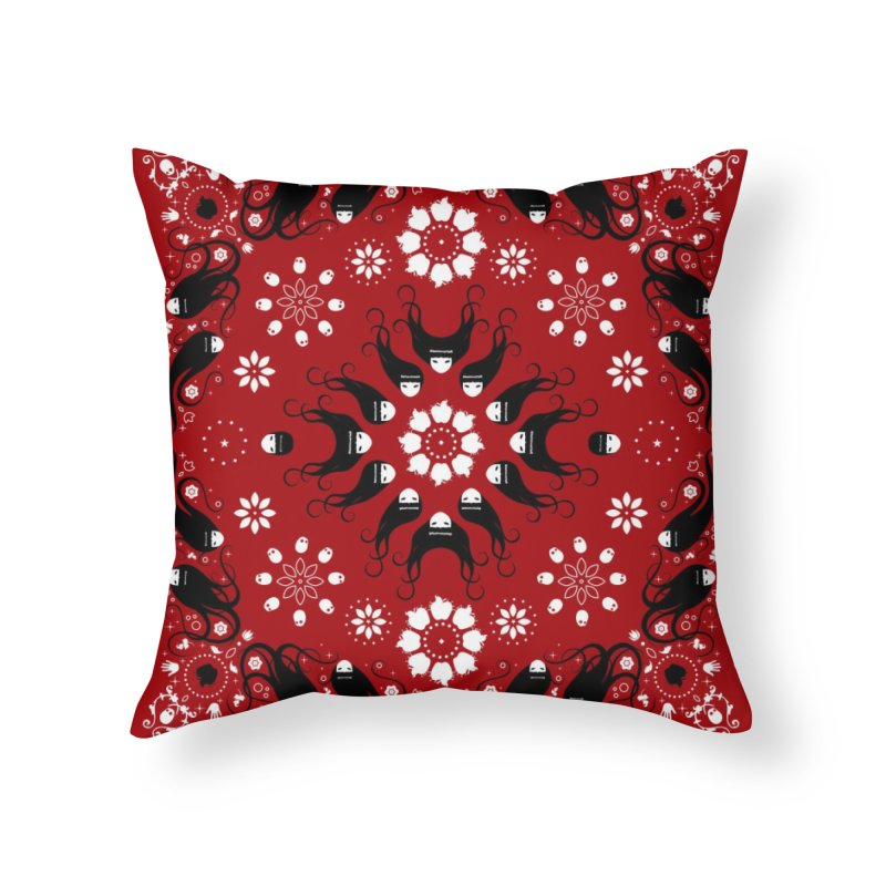 Dolls and Daisies Paisley/Red Square in Throw Pillow by littleappledolls's Artist Shop
