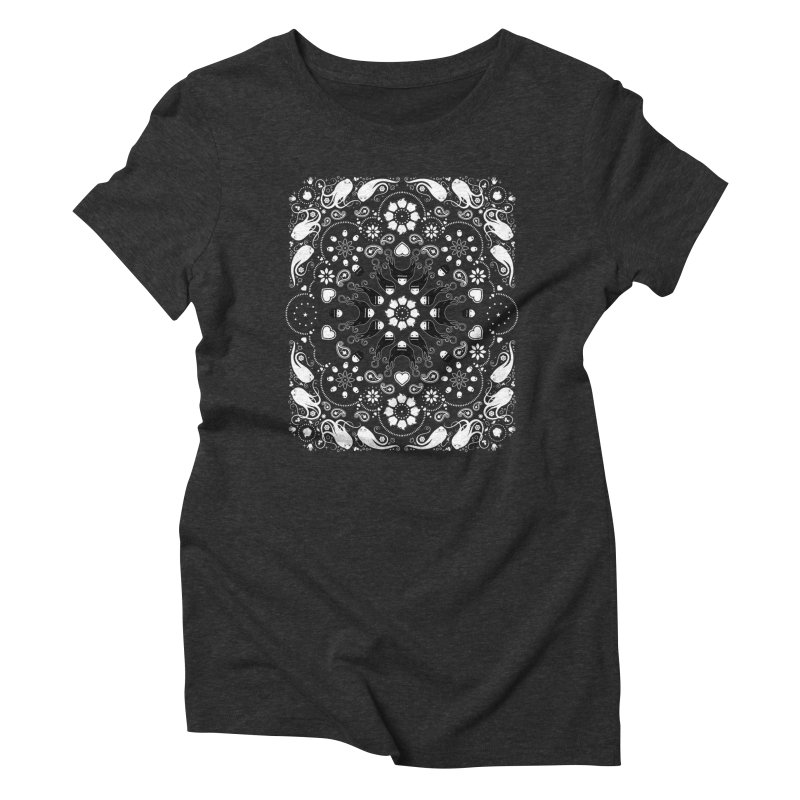 Dolls and Daisies Paisley/Black Women's Triblend T-Shirt by littleappledolls's Artist Shop