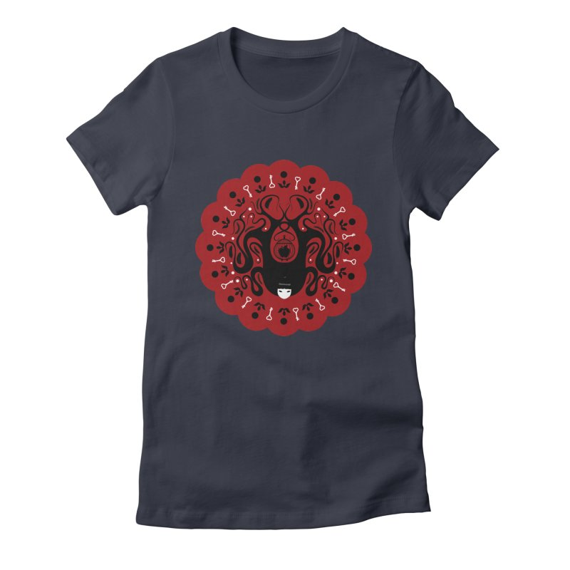 Cages and Keys/Red Women's Fitted T-Shirt by littleappledolls's Artist Shop