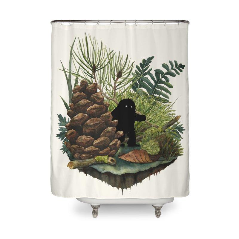 Tiny Sasquatsch Home Shower Curtain by Littleclyde Illustration