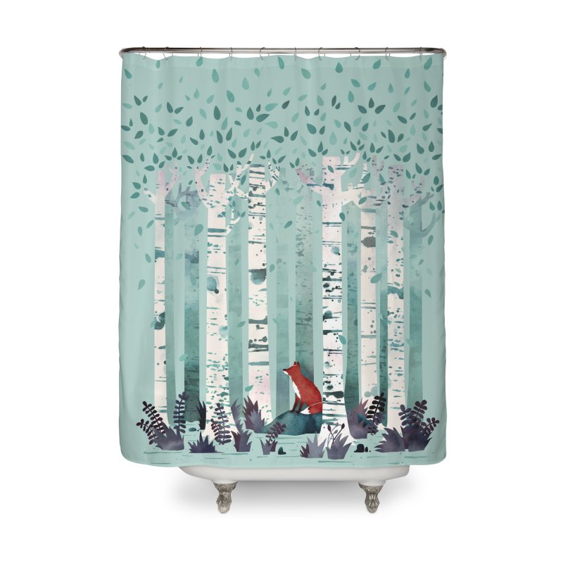 The Birches Home Shower Curtain by Littleclyde Illustration