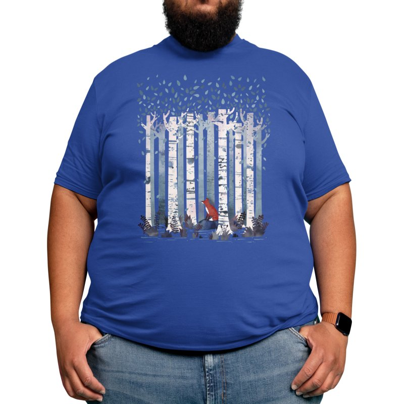 The Birches in Blue Men's T-Shirt by Littleclyde Illustration