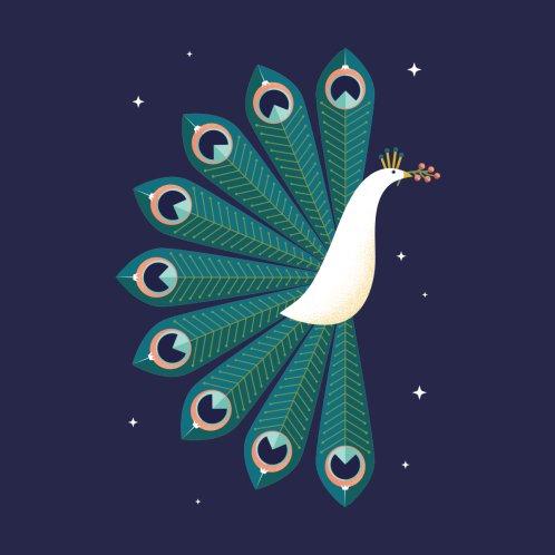 Design for Ornamental Peacock on Blue