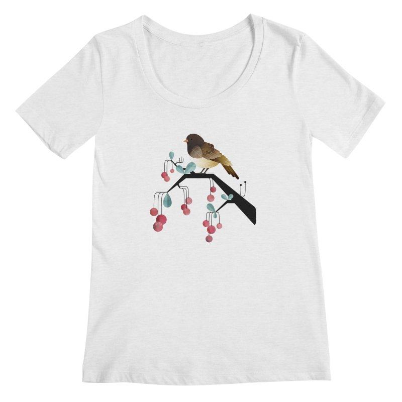Bird, Watching Women's Scoopneck by Littleclyde Illustration