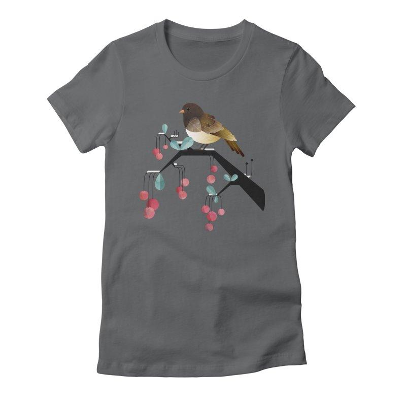 Bird, Watching Women's Fitted T-Shirt by Littleclyde Illustration
