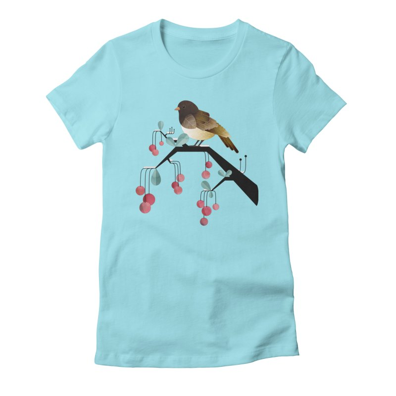 Bird, Watching Women's Fitted T-Shirt by Littleclyde Illustration