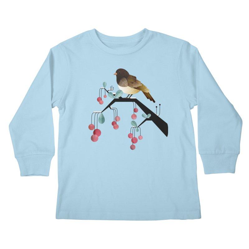 Bird, Watching Kids Longsleeve T-Shirt by Littleclyde Illustration