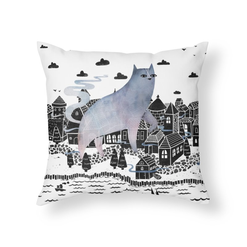 The Fog Home Throw Pillow by Littleclyde Illustration