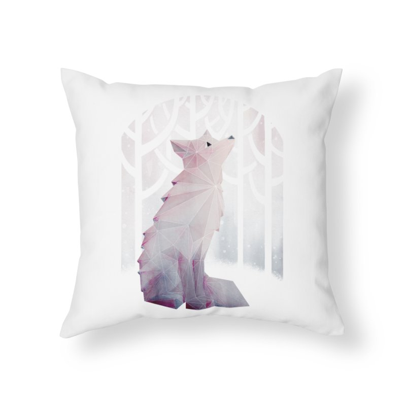 Fox in the Snow Home Throw Pillow by Littleclyde Illustration