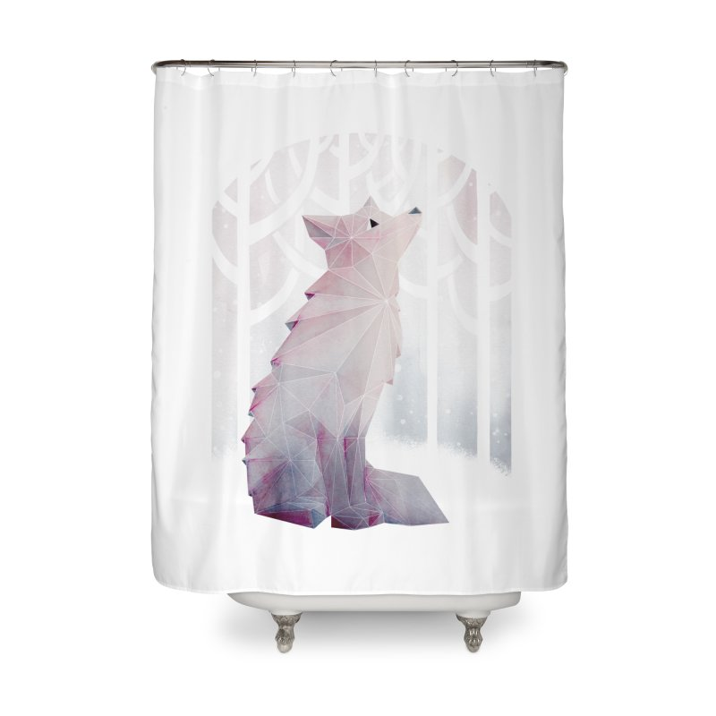 Fox in the Snow Home Shower Curtain by Littleclyde Illustration