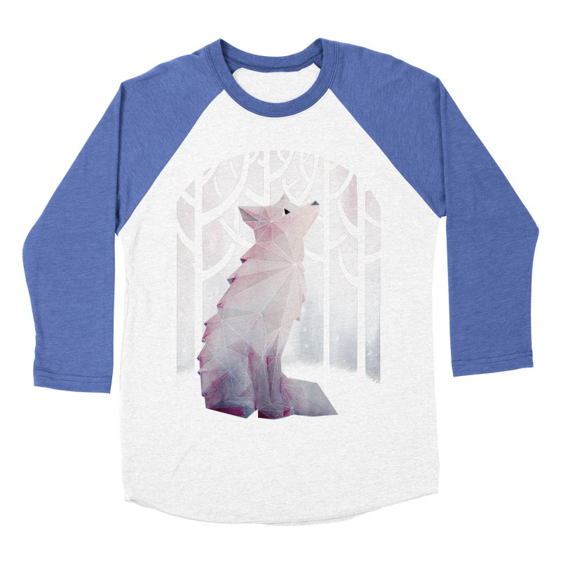 Fox in the Snow Men's Baseball Triblend T-Shirt by Littleclyde Illustration