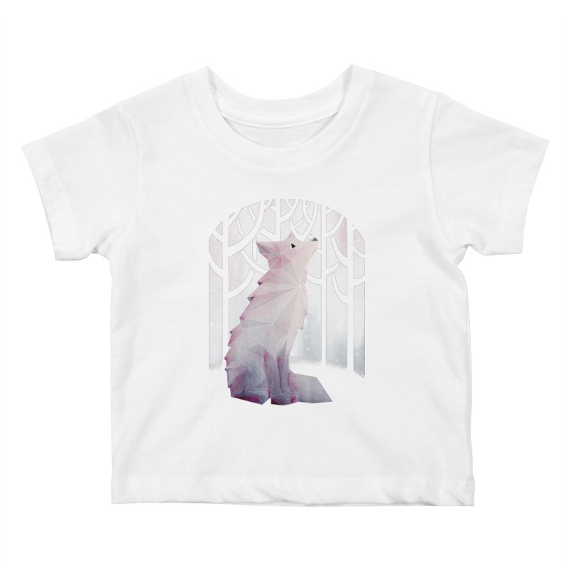 Fox in the Snow Kids Baby T-Shirt by Littleclyde Illustration