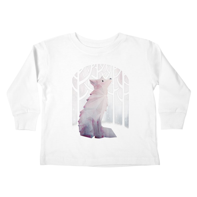 Fox in the Snow Kids Toddler Longsleeve T-Shirt by Littleclyde Illustration
