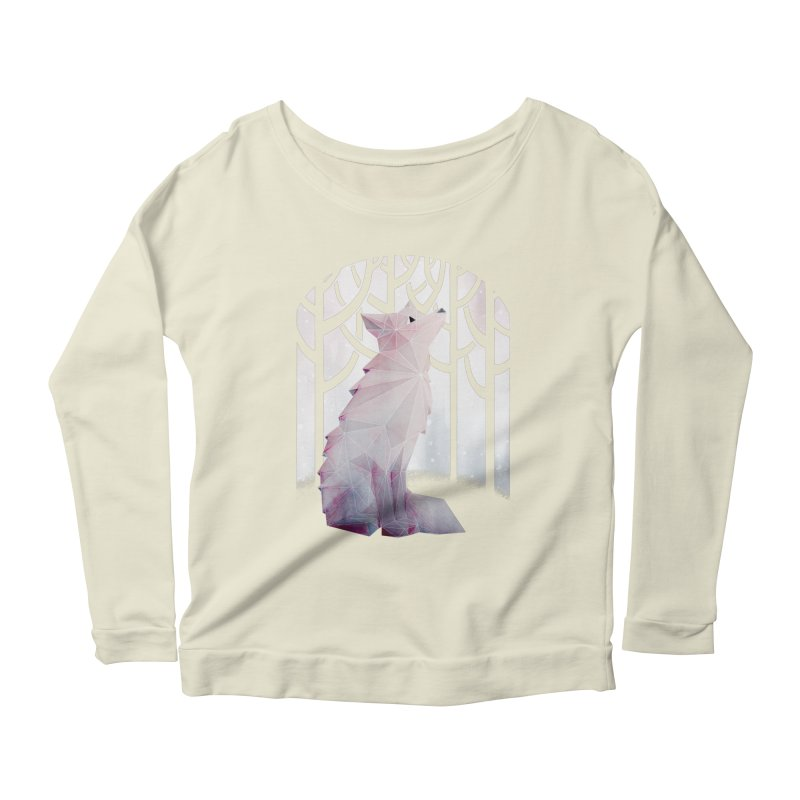 Fox in the Snow Women's Scoop Neck Longsleeve T-Shirt by Littleclyde Illustration