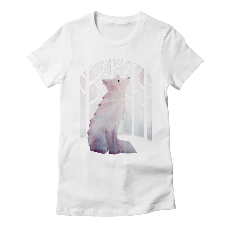 Fox in the Snow Women's Fitted T-Shirt by Littleclyde Illustration