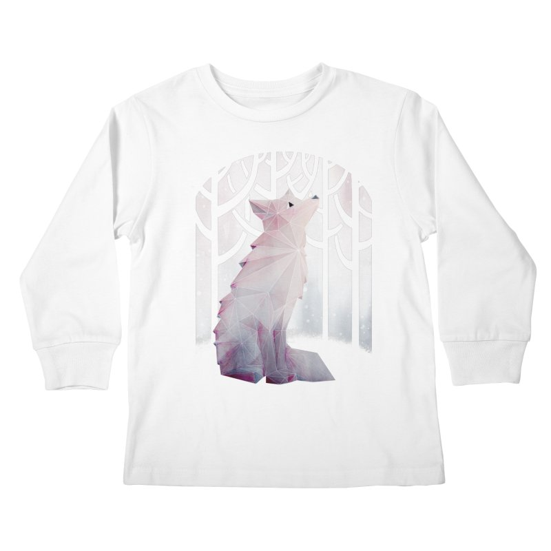 Fox in the Snow Kids Longsleeve T-Shirt by Littleclyde Illustration