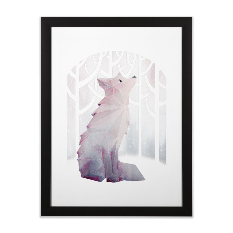 Fox in the Snow Home Framed Fine Art Print by Littleclyde