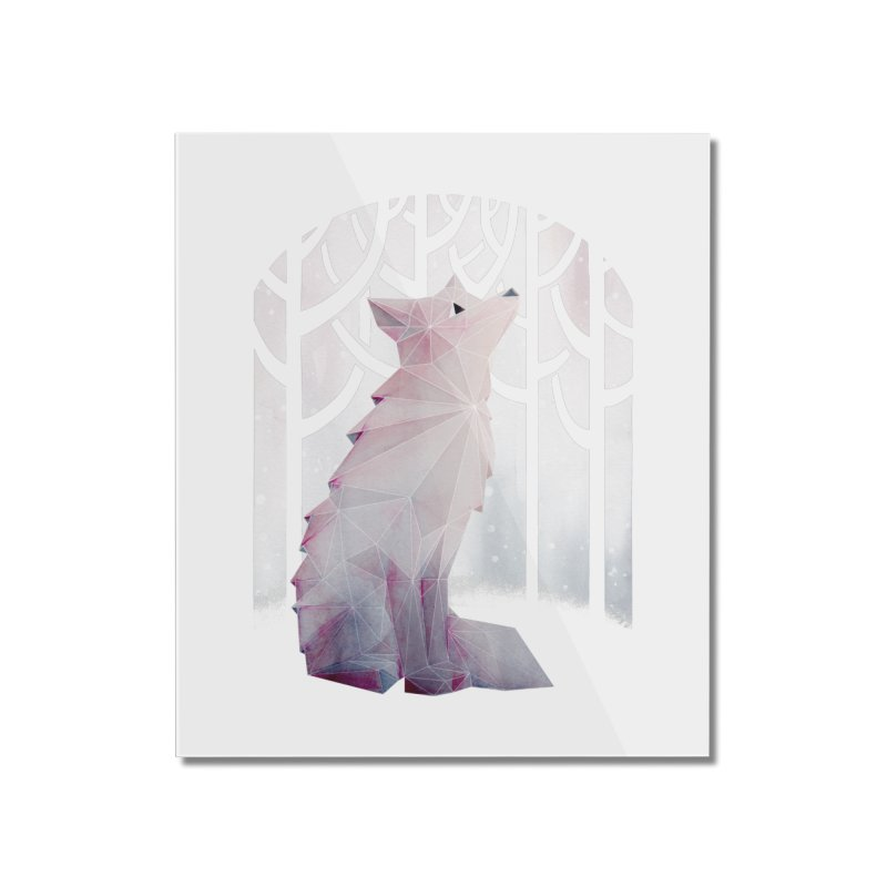 Fox in the Snow Home Mounted Acrylic Print by Littleclyde Illustration