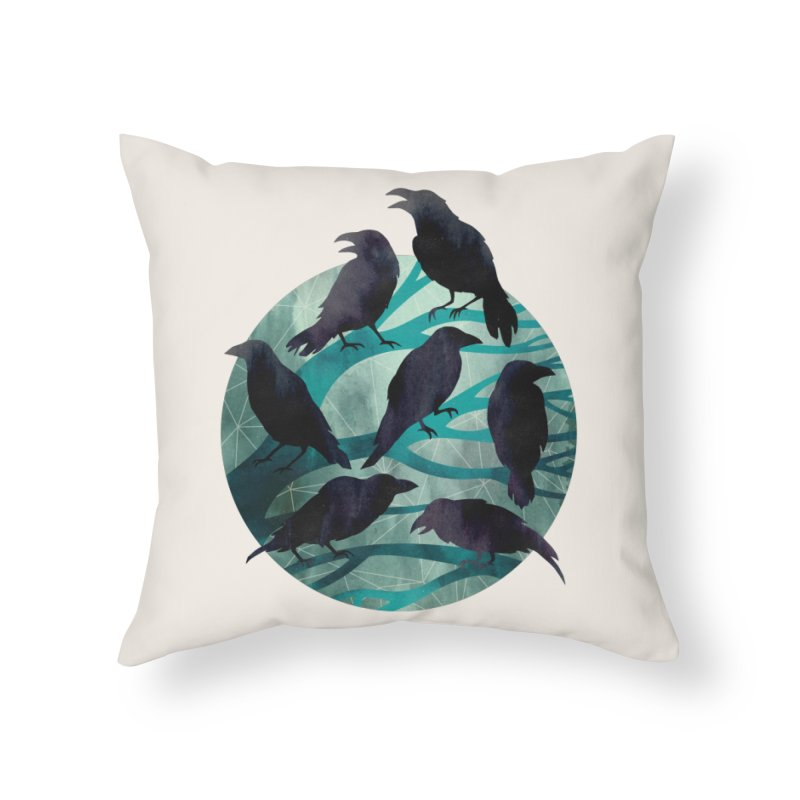 The Gathering Home Throw Pillow by Littleclyde Illustration
