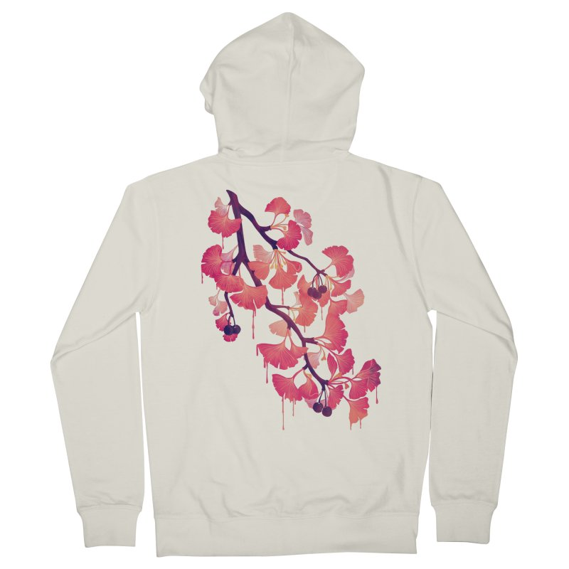 O, Ginkgo Men's French Terry Zip-Up Hoody by Littleclyde Illustration