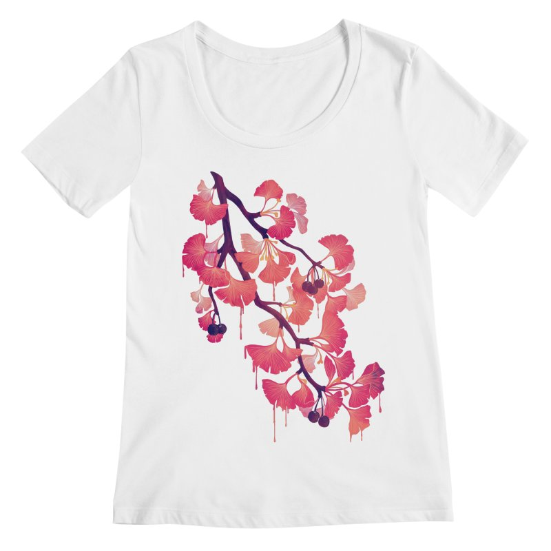 O, Ginkgo Women's Scoopneck by Littleclyde Illustration