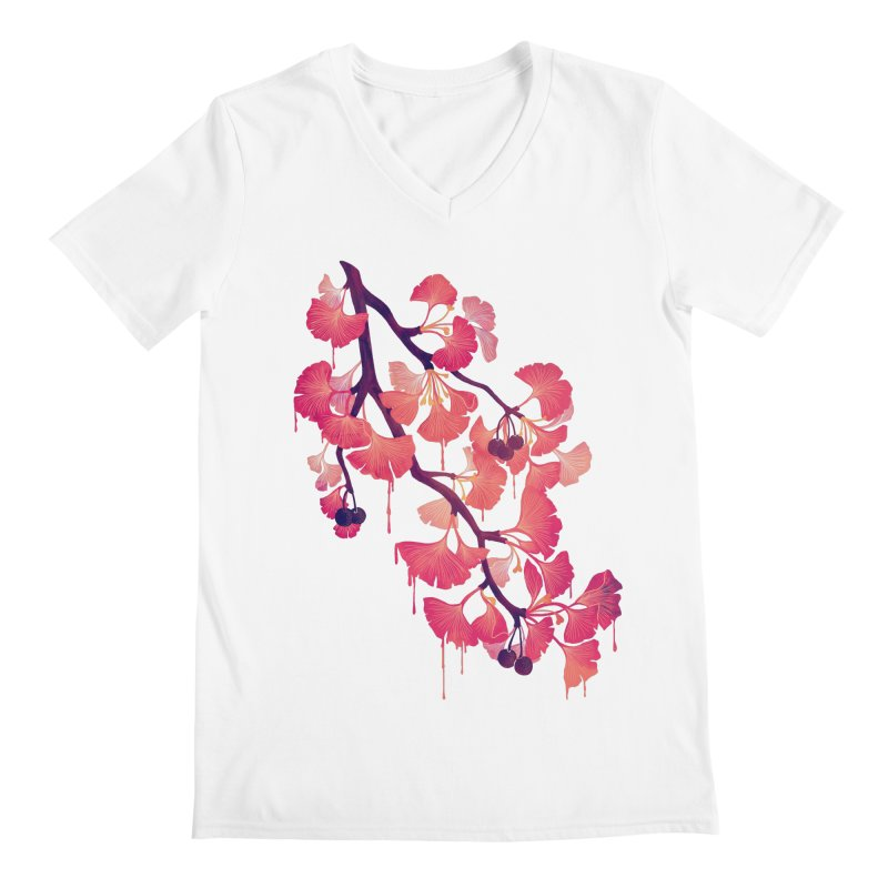 O, Ginkgo Men's V-Neck by Littleclyde Illustration