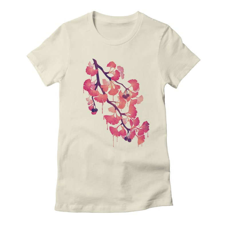 O, Ginkgo Women's Fitted T-Shirt by Littleclyde Illustration