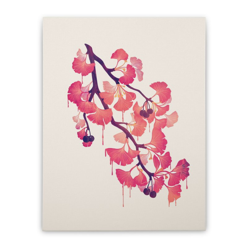 O, Ginkgo Home Stretched Canvas by Littleclyde Illustration