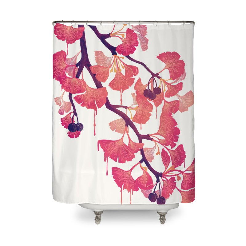 O, Ginkgo Home Shower Curtain by Littleclyde Illustration