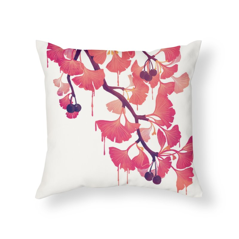 O, Ginkgo Home Throw Pillow by Littleclyde Illustration