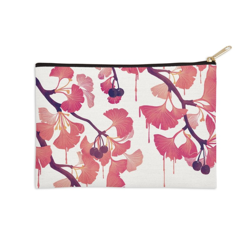 O, Ginkgo Accessories Zip Pouch by Littleclyde Illustration