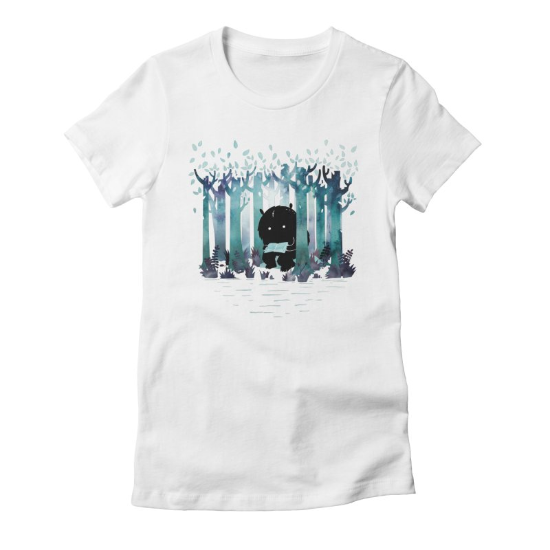 A Quiet Spot Women's Fitted T-Shirt by Littleclyde Illustration