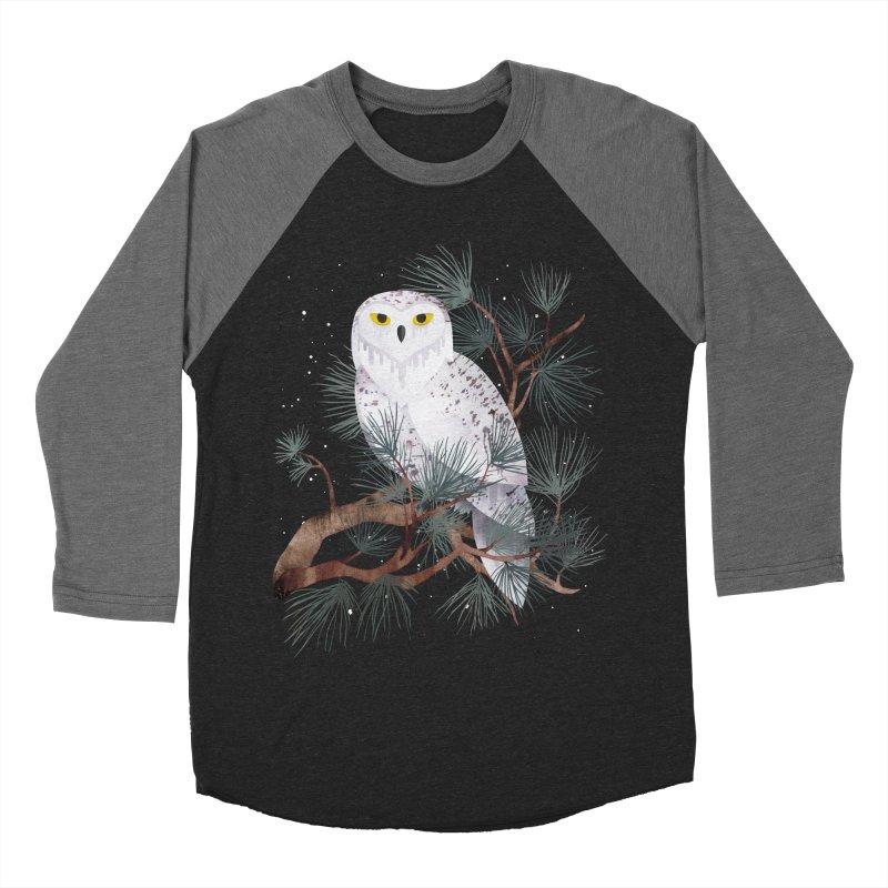 Snowy Men's Baseball Triblend T-Shirt by Littleclyde Illustration