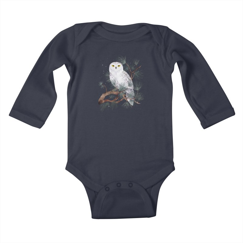 Snowy Kids Baby Longsleeve Bodysuit by Littleclyde Illustration
