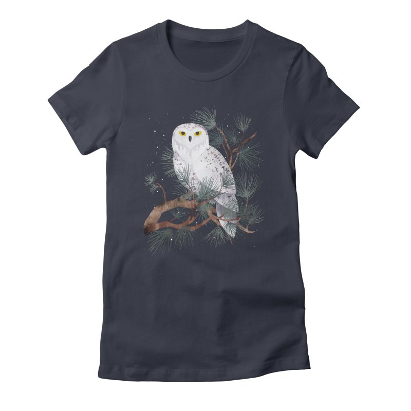 Snowy Women's Fitted T-Shirt by Littleclyde Illustration