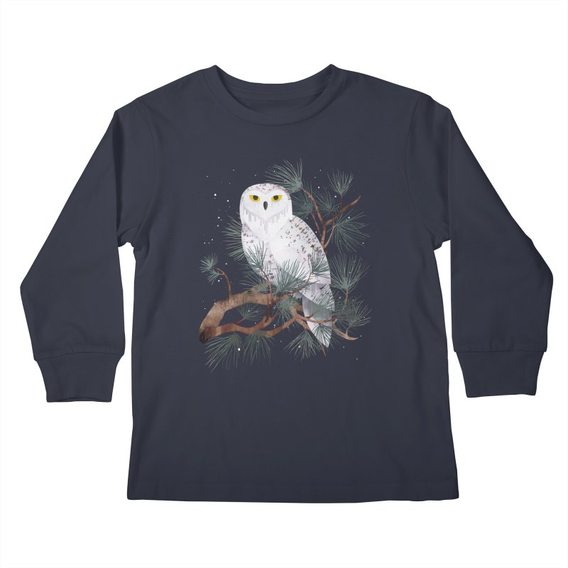 Snowy Kids Longsleeve T-Shirt by Littleclyde Illustration
