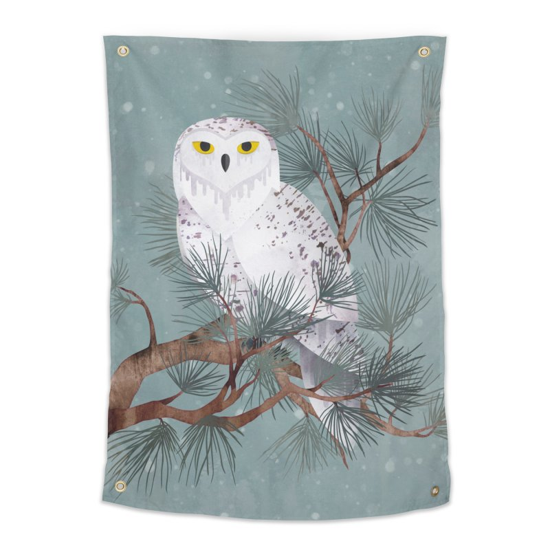 Snowy Home Tapestry by Littleclyde Illustration