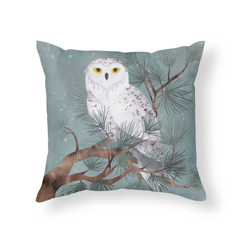 Snowy Home Throw Pillow by Littleclyde Illustration