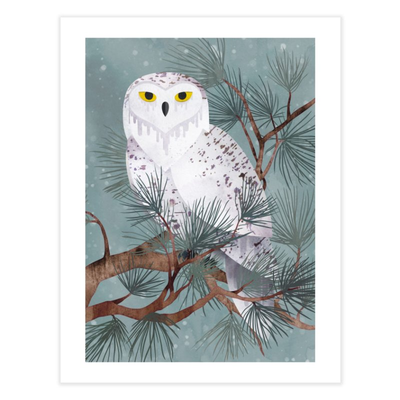 Snowy Home Fine Art Print by Littleclyde Illustration