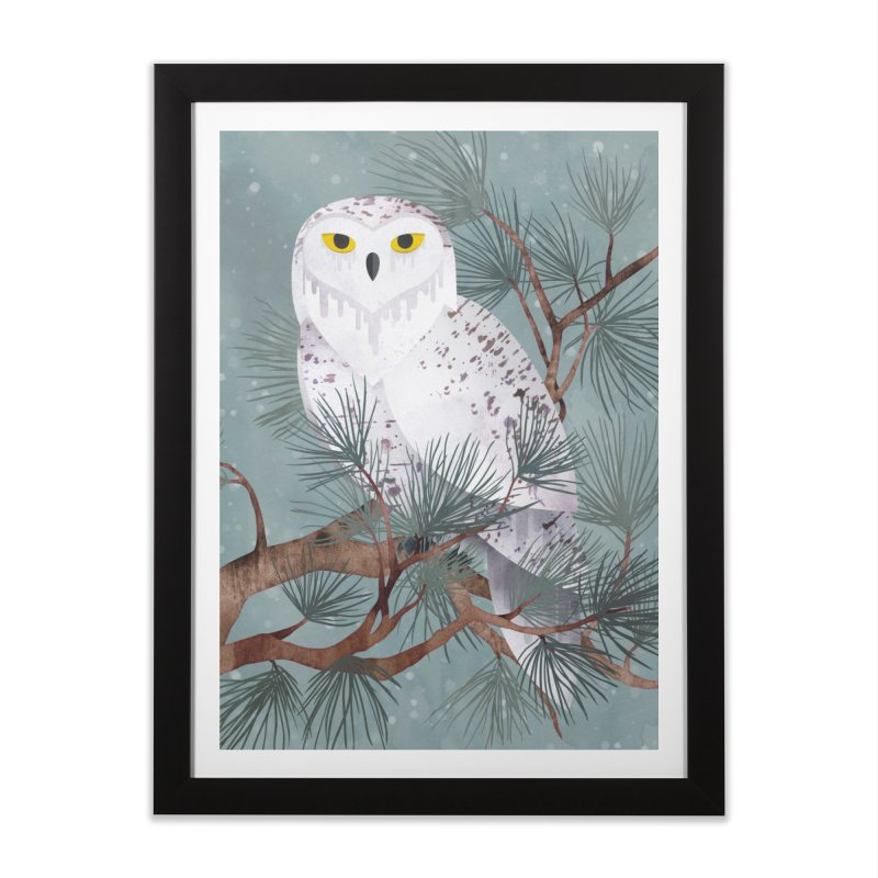 Snowy Home Framed Fine Art Print by Littleclyde Illustration