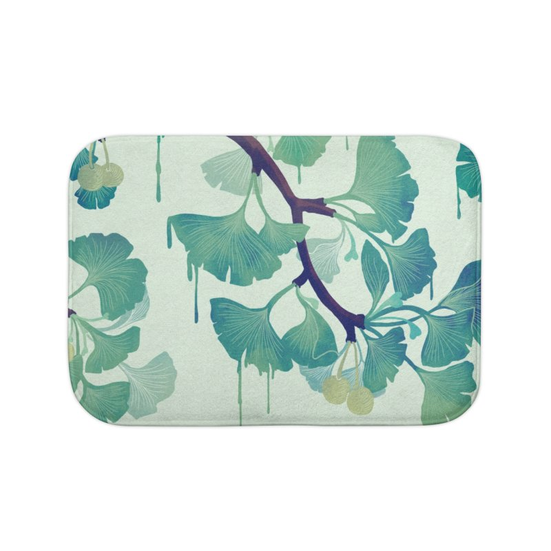 O Ginkgo (in Green) Home Bath Mat by Littleclyde Illustration