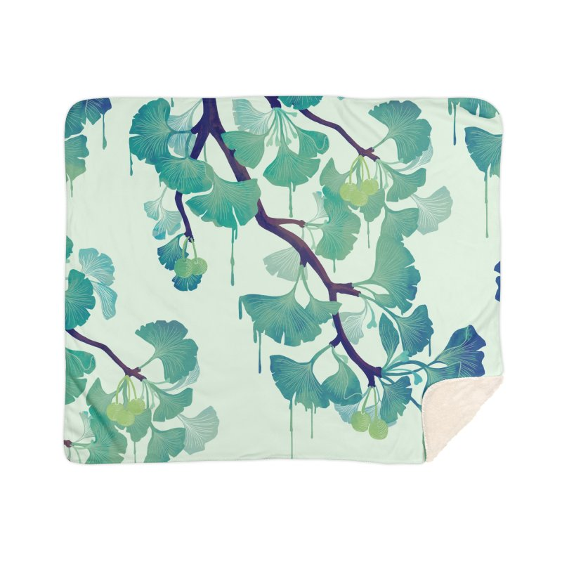 O Ginkgo (in Green) Home Blanket by Littleclyde Illustration