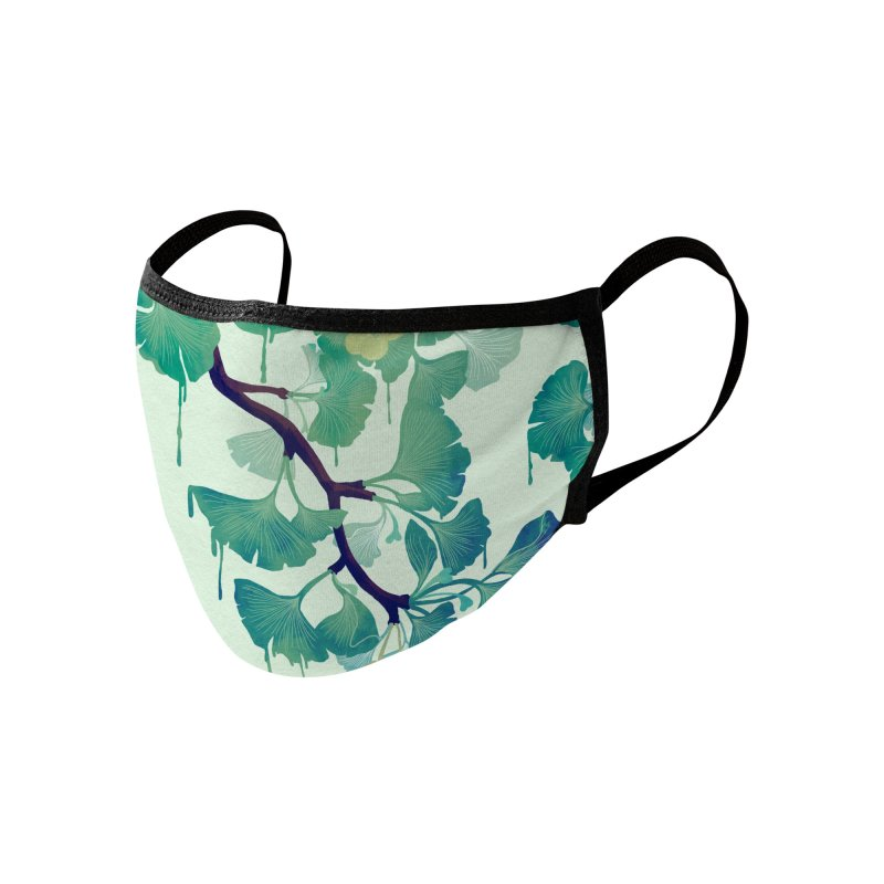 O Ginkgo (in Green) Accessories Face Mask by Littleclyde Illustration