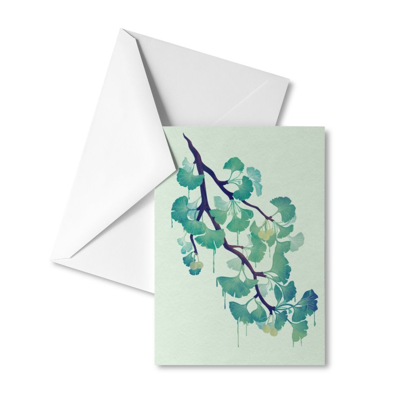 O Ginkgo (in Green) Accessories Greeting Card by Littleclyde Illustration