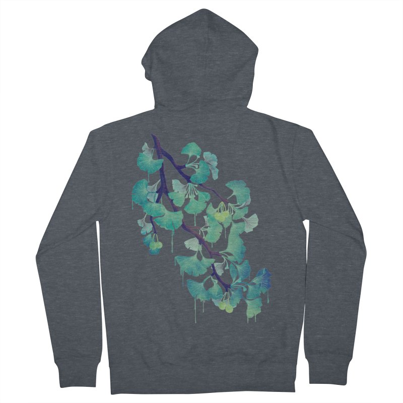 O Ginkgo (in Green) Men's French Terry Zip-Up Hoody by Littleclyde Illustration