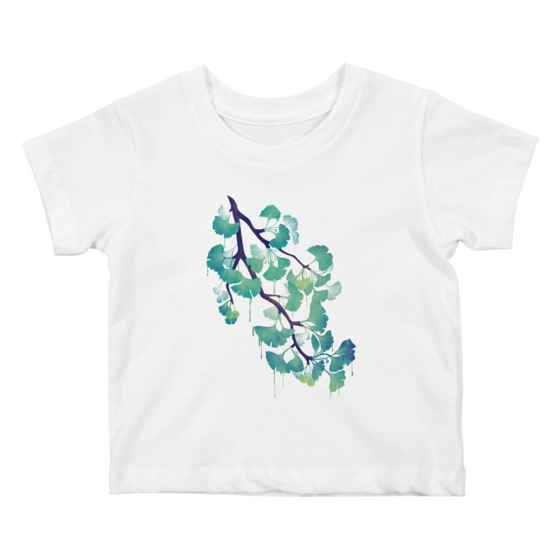 O Ginkgo (in Green) Kids Baby T-Shirt by Littleclyde Illustration