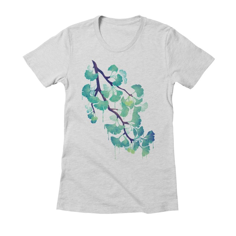 O Ginkgo (in Green) Women's Fitted T-Shirt by Littleclyde Illustration