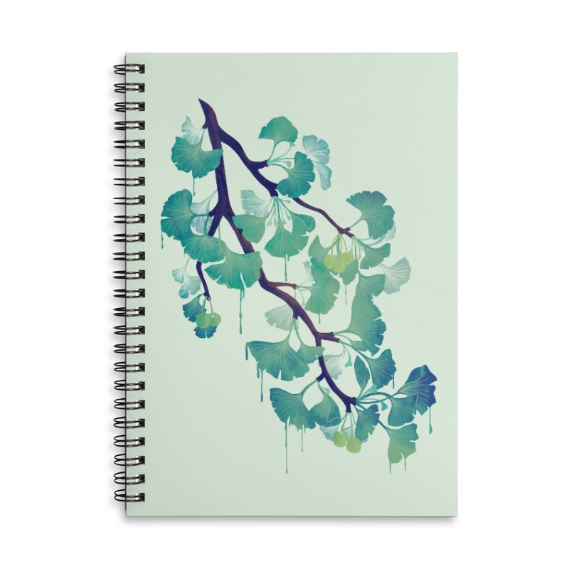 O Ginkgo (in Green) Accessories Notebook by Littleclyde Illustration