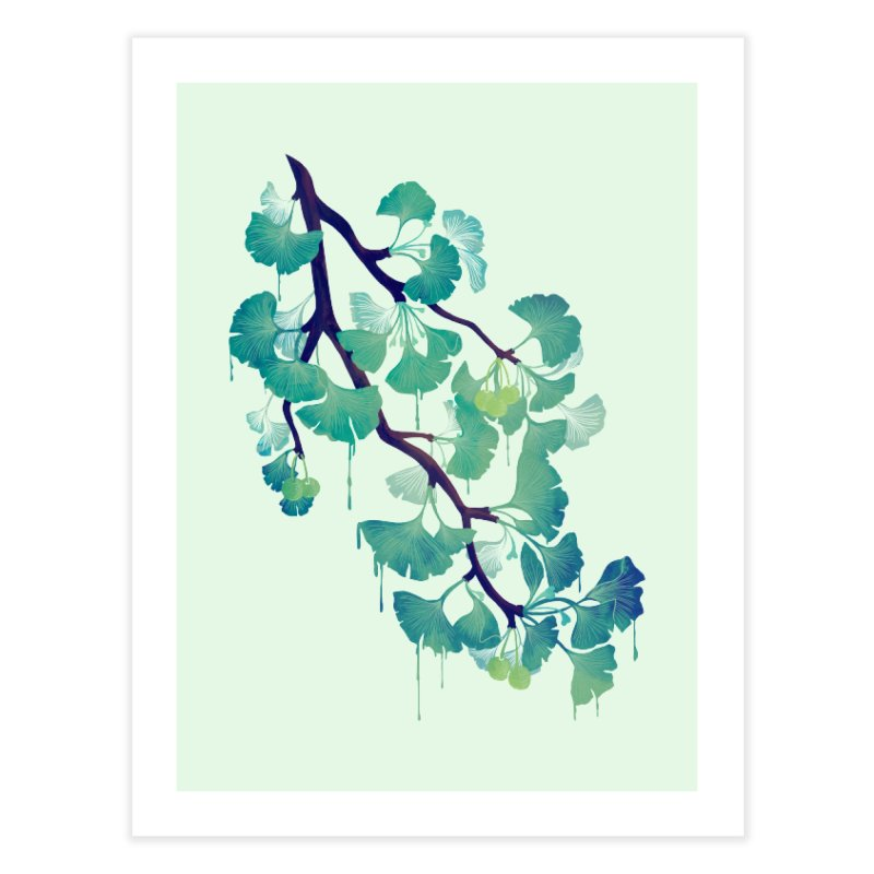 O Ginkgo (in Green) Home Fine Art Print by Littleclyde Illustration